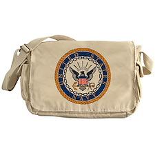 Navy-Emblem Messenger Bag
