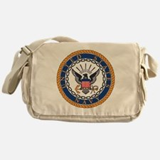 Navy-Emblem Messenger Bag