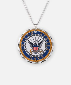 Navy-Emblem Necklace Circle Charm