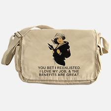 Navy-Humor-I-Reenlisted-Girl-PO3 Messenger Bag