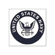 "Navy-Logo-To-Match-Whites-R Square Sticker 3"" x 3"""