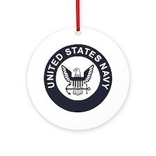 Navy-Logo-To-Match-Whites-Rank Round Ornament
