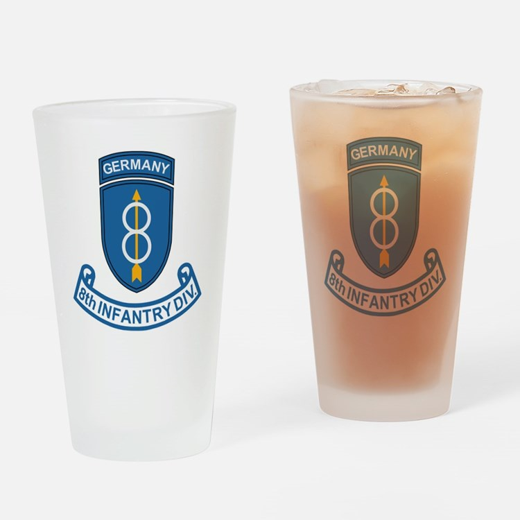 Army-8th-Infantry-Div-Germany-Scrol Drinking Glass