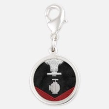 Navy-Rank-UT2-Embroidered-Red Silver Round Charm