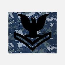 Navy-Rank-PO2-Tile-NWU Throw Blanket