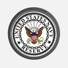 USNR-Navy-Reserve-Emblem-Black-White Wall Clock