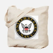 Navy-Logo-Black-White-Gold Tote Bag