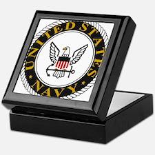 Navy-Logo-Black-White-Gold Keepsake Box