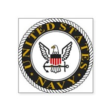 "Navy-Logo-Black-White-Gold Square Sticker 3"" x 3"""