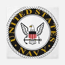 Navy-Logo-Black-White-Gold Queen Duvet