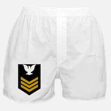 Navy-Rank-PO1-Crow-Gold Boxer Shorts