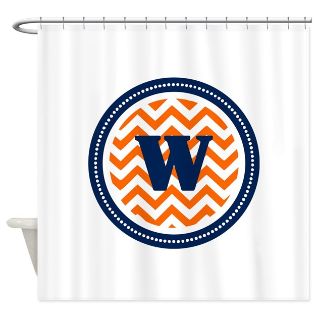 Orange Amp Navy Shower Curtain By TheMonogramStore