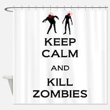 Kill Zombies Shower Curtain