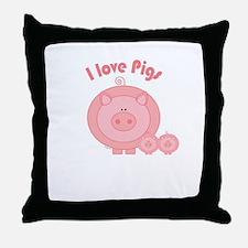 I Love Pigs Throw Pillow