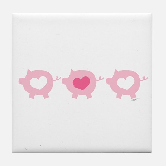 Pigs and Hearts Tile Coaster
