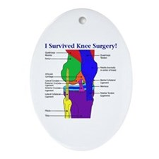 I Survived Knee Surgery! Oval Ornament