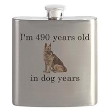 70 birthday dog years german shepherd Flask