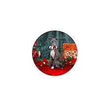 Italian Greyhound Christmas Watercolor Mini Button