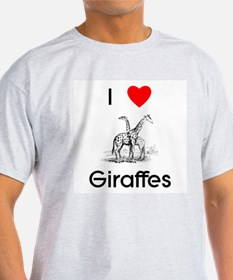 I Love Giraffes Ash Grey T-Shirt