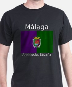 Malaga City (Dark) Front and Back. T-Shirt