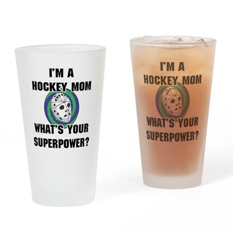 Hockey Mom Superhero Drinking Glass