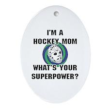Hockey Mom Superhero Ornament (Oval)