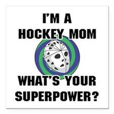 "Hockey Mom Superhero Square Car Magnet 3"" x 3"""