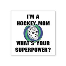 Hockey Mom Superhero Square Sticker 3