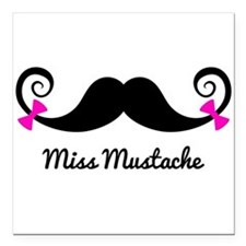 Miss Mustache design with pink bows Square Car Mag