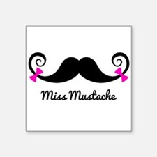 Miss Mustache design with pink bows Sticker