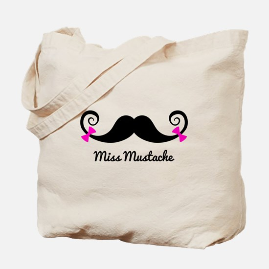 Miss Mustache design with pink bows Tote Bag