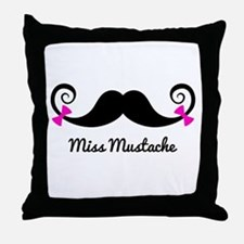 Miss Mustache design with pink bows Throw Pillow