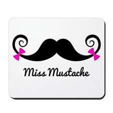 Miss Mustache design with pink bows Mousepad