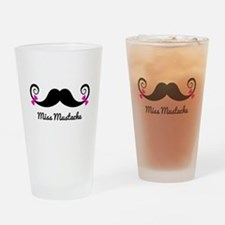 Miss Mustache design with pink bows Drinking Glass