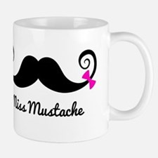 Miss Mustache design with pink bows Small Small Mug