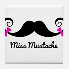 Miss Mustache design with pink bows Tile Coaster