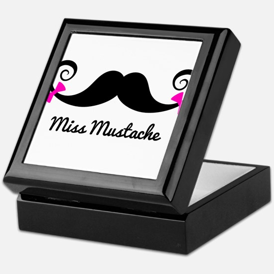 Miss Mustache design with pink bows Keepsake Box