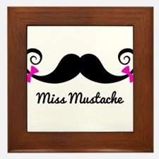 Miss Mustache design with pink bows Framed Tile