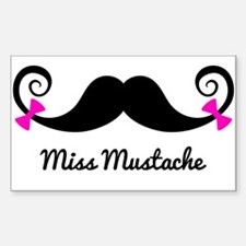Miss Mustache design with pink bows Decal