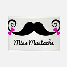 Miss Mustache design with pink bows Rectangle Magn
