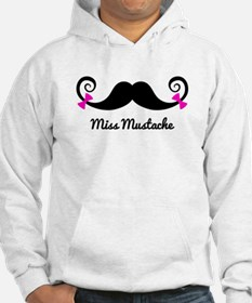 Miss Mustache design with pink bows Hoodie