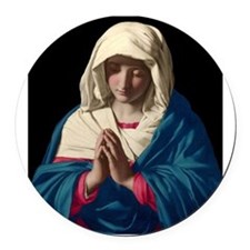 Virgin Mary in Prayer Round Car Magnet