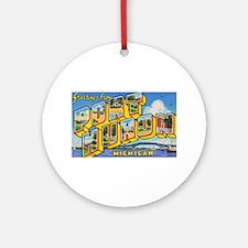 Port Huron Michigan Greetings Ornament (Round)