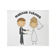 Married Forever Bride Groom Throw Blanket