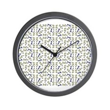 Blueberries On Vine Repeat Pattern Wall Clock