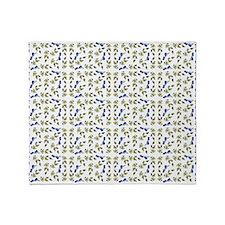 Blueberries On Vine Repeat Pattern Throw Blanket