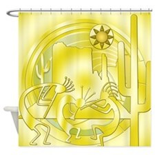Kokopelli Cactus Gold #2 Shower Curtain