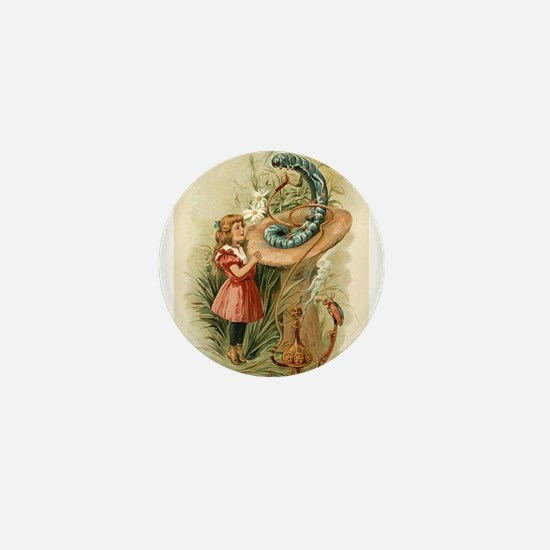 Alice and the Caterpillar Victorian art Mini Butto