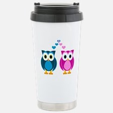Cute Owls in Love Blue and Pink Travel Mug