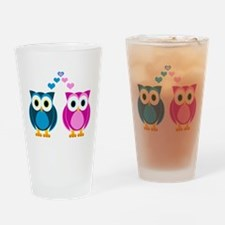 Cute Owls in Love Blue and Pink Drinking Glass
